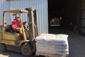 Tim is unloading bean seed from the tractor trailer. Bean seed is stored in our warehouse unti picked up by local growers.